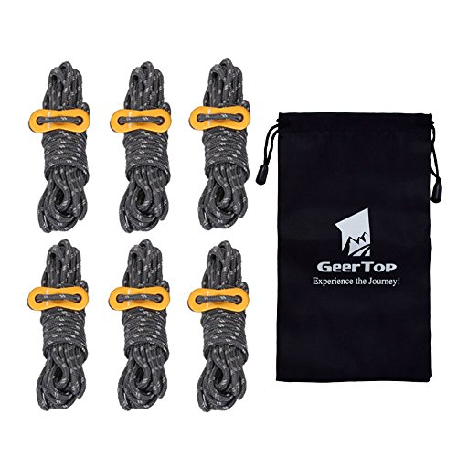 Geertop 6 Pack 4mm Reflective Tent Guide Ropes Lightweight Guy Line Cord with Guyline Adjuster Aluminum Tent Cord Tensioners for Camping Hiking Backpacking - Essential Camp Accessories 13 Feet Gray ()