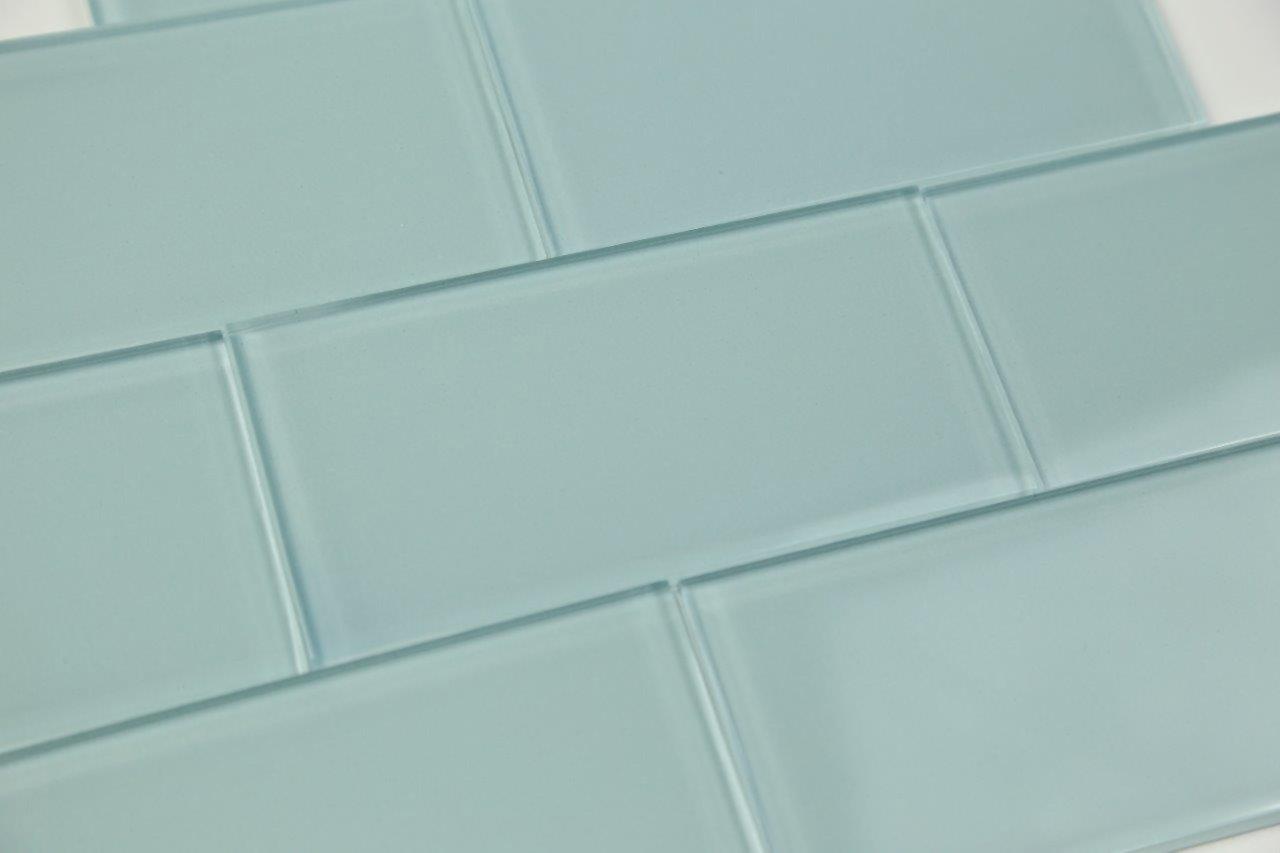 Light Astoria Blue Glass Subway Tile Popular kitchen backsplashes and bathroom, 4x12 - 10 Sq Ft Box