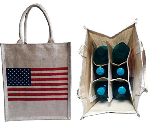 (KVR natural Jute burlap wine beer water bottle cum can carrier bag US Flag printed Grocery & lunch bag, Eco Environment Friendly versatile flexible(6 bottle bag,)