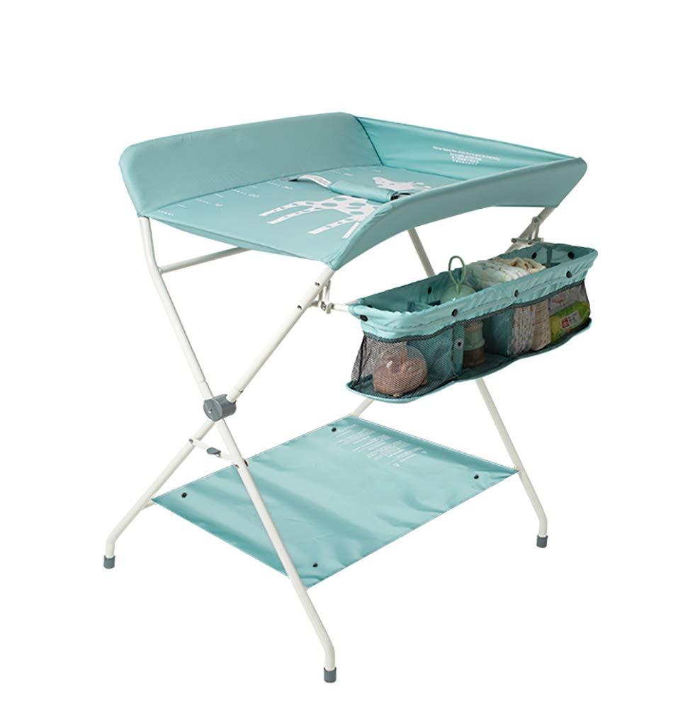 チェンジテーブル 薄緑色のおむつ交換台、おむつステーション保育園オーガナイザー新生児と乳児のための折り畳み式クロスレッグスタイル   B07MTTXD5R