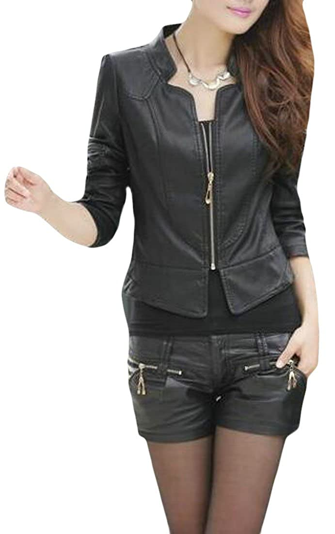 Etecredpow Womens Stand Collar Washed Slim Fit Coat Faux Leather Moto Short Jacket