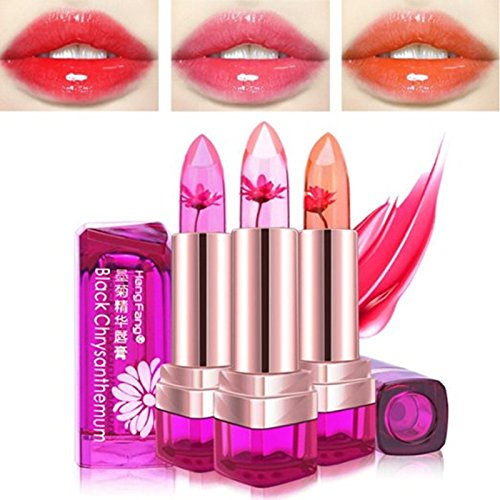 Lipstick Pink Daisy - SaiDeng Lipstick Daisy Essence Jelly Lip Gloss Lipstick Nonstick Color Change Moist Lip Balm Lemon