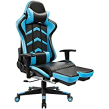 Furmax Gaming Chair High Back Racing Chair, Ergonomic Swivel Computer Chair Executive Leather Desk Chair with Footrest, Bucket Seat and Lumbar Support (Blue)
