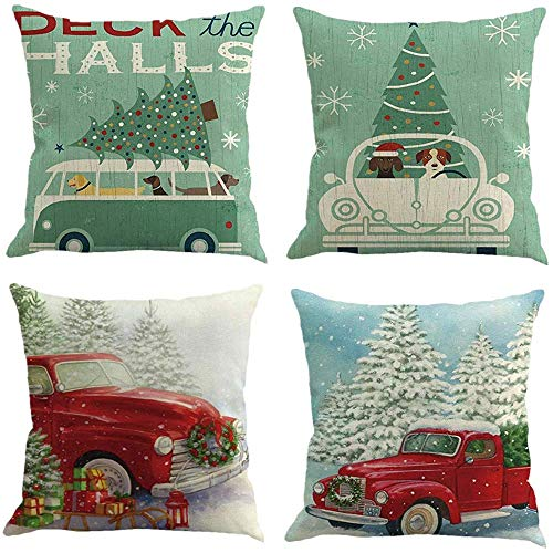 FOOZOUP Happy Christmas Throw Pillowcase Car Tree Home Decor Cushion Cover for Sofa Couch (Set of 4)