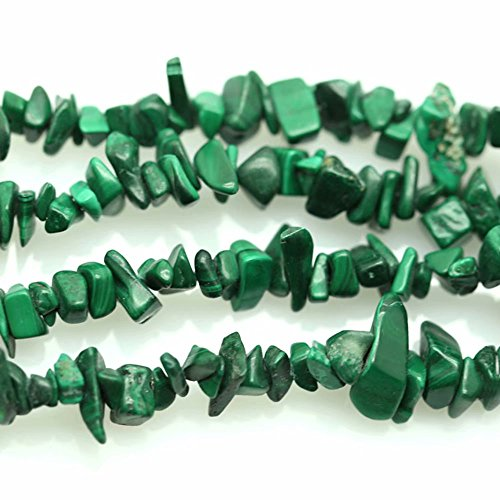 (Real Green Malachite Gemstone Irregular Loose Drilled Chips Beads for Making DIY Necklace Bracelet Earrings Craft Sold by One Strand 31 Inch )