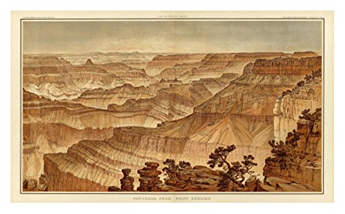 """Global Gallery """"William Henry Holmes Grand Canyon - Panorama From Point Sublime (part III Looking West) 1882"""" Unframed Giclee on Paper Print, 17 7/8"""" x 30"""" from Global Gallery"""