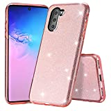 Samsung Galaxy Note 10 Case, Glitter Slim Bling Crystal Clear 3 Layer Hybrid Protective Case Anti-Scratches Cover for Samsung Galaxy Note 10 -Pink -  Tsjwee