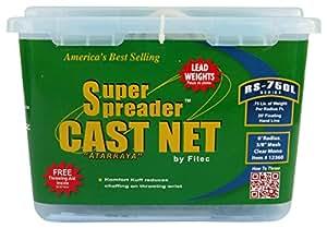 """Fitec RS750-L Super Spreader Cast Net Clear 5' Radius, 3/8"""" mesh, 3/4 Lb Lead WTS"""