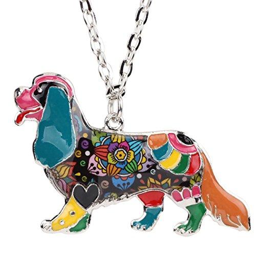 BONSNY Dog Collection Bracken Our Cavalier King Charles Spaniel Alloy Enamel Pendant Necklace -