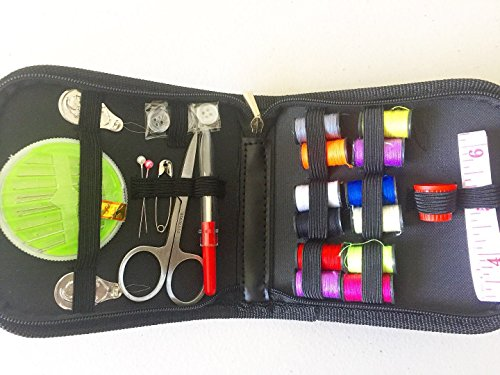 Virtual Tech Best Sewing Kit for Travel, Emergency, Sewing Supplies with Scissors, Thimble, Thread, Needles, Tape Measure, Carrying Case and Accessories (black)