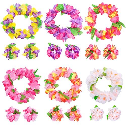 VGOODALL 48 STK. Hawaii Blumenketten, Leis Luau Bunte Hawaiiketten mit Halsketten Stirnbänder Armbänder für Hawaiian Party Strand Dekorationen Zubehör