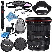 Canon EF 17-40mm f/4L USM Lens 8806A002 + 77mm 3 Piece Filter Kit + Lens Cleaning Kit + Lens Pen Cleaner + Fibercloth Bundle