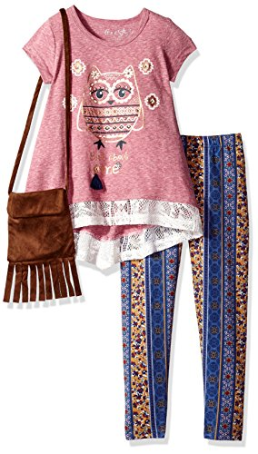 Set Freestyle (Freestyle Revolution Little Girls' 3pc Top/Legging/Purse, Red Plum, 5)