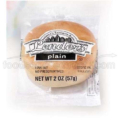 Pinnacle Foods Lenders Plain Sliced Bagel, 2 Ounce -- 72 per case.