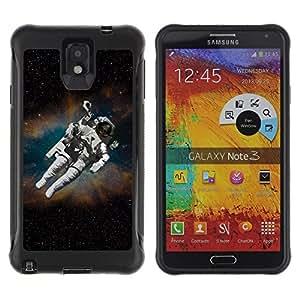 All-Round híbrido Heavy Duty de goma duro caso cubierta protectora Accesorio Generación-II BY RAYDREAMMM - Samsung Galaxy Note 3 - Cosmonaut Astronaut Skeleton Art Space Travel