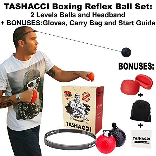 TASHACCI Boxing Reflex Ball – 2 Difficulty Level Fight Ball With Headband + BONUSES Gloves,Bag,Start Information.Boxing Equipment To Improve Speed, Reactions, Punching Accuracy And Hand Eye Coordination – DiZiSports Store