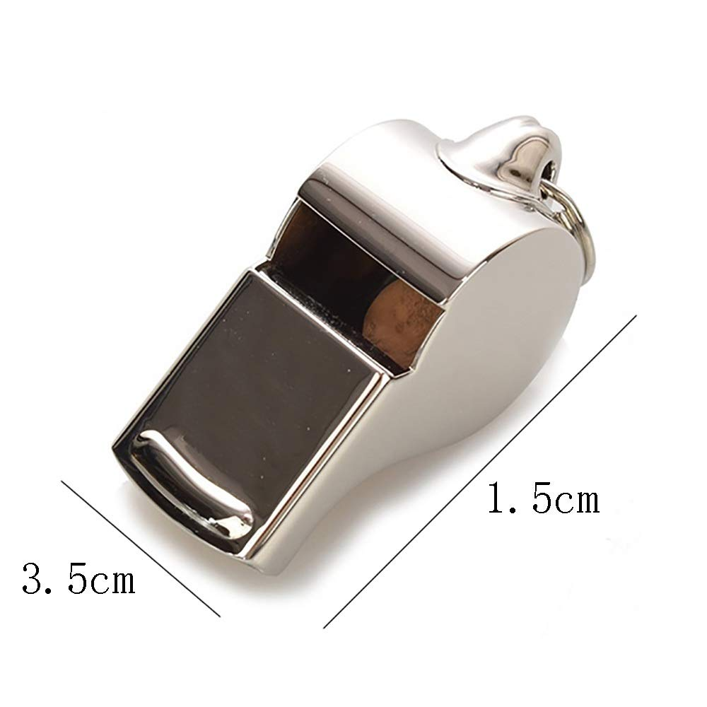 WSJF Dog Whistle, Stainless Steel Whistle,Dog Training Whistle,Thunderer Whistle,Removable Lanyard,Pack of 2,Silver