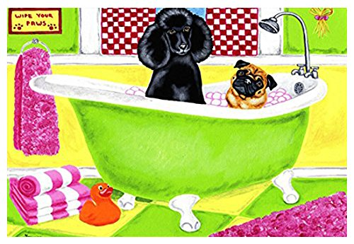 Caroline's Treasures AMB1335JMAT Tub for Two with Poodle and Pug Indoor or Outdoor Mat, 24