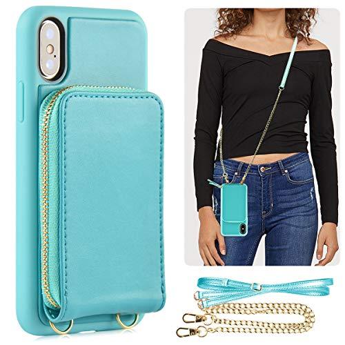 iPhone X Zipper Wallet Case,iPhone Xs Wallet Case,JLFCH Leather Case with Card Slot,Zipper Closure,Detachable Wrist Strap + Detachable Crossbody Strap, Fit for iPhone X/Xs,5.8 inch,Mint Blue ()