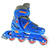 Crazy Skates Adjustable Inline Skates | Adjusts to fit 4 Shoe Sizes | Blue Model 148 Large (Mens 6-8)