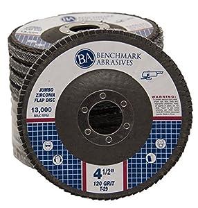 "4.5"" x 7/8"" Premium High Density Jumbo Zirconia Flap Disc - 10 Pack"