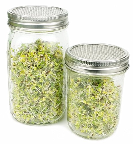 Fecihor Stainless Steel Sprouting Jar Lid Kit for Wide Mouth Mason Jars Superb Ventilation for Making Organic Sprout Seeds