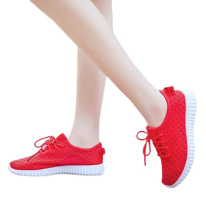 Bestow Zapatillas Deportivas para Correr Zapatillas de Malla Transpirable de Fondo Plano Zapatillas Casuales(Rojo