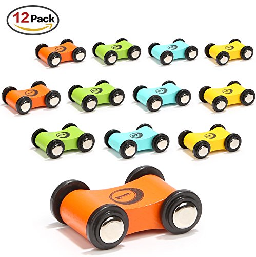 Wooden Car Ramp Race Track Toy Toddler Car Playset Replacement Cars 12 Pack