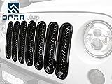 jeep wrangler grill cover - opar Gloss Black Clip-in Front Mesh Grille Insert for 2007-2015 Jeep Wrangler JK & Wrangler Unlimited (Pack of 7)