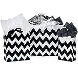 Black Chevron Paper Shopping Bag Assortment - 250 Pack