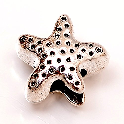RUBYCA 50pcs Tibetan Silver Tone Spacer Beads Fit European Charms Bracelet Star Fish Design