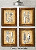 Original Auto Mechanic Tools Patent Prints - Set of Four Photos (8x10) Unframed - Great Gift for Car Lovers/Mechanics