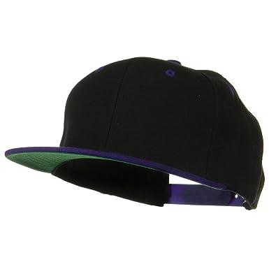 Sonette Yupoong Classic Snapback Wool Blend 2 Tone Cap - Black Purple 654fdefe6876