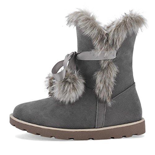 Snow gray Mid Women's Winter SHANGXIAN nbsp;boots calf Boot EH0Xwxq