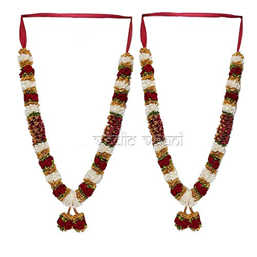 (Vedic Vaan Wedding Varmala/Garland for Bride & Groom Set of 2 - Maroon Flower )