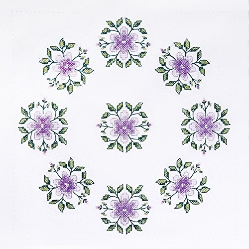 Tobin T288083 Stamped Quilt Blocks Cross Stitch Kit, 18 by 18-Inch, Floral Vine, White, 6 Per Package