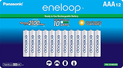 Eneloop Aaa Batteries - Panasonic BK-4MCCA12FA eneloop AAA 2100 Cycle Ni-MH Pre-Charged Rechargeable Batteries, (package includes 12AAA silver or 12AAA white)