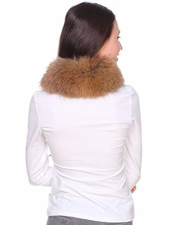 Ferand-Bufanda de Mujer Cuello Alto de Piel de Mapache OriginalCalentador de Cuello en Color Natural: Amazon.es: Ropa y accesorios