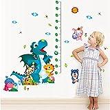ufengke home Height Chart Cartoon Dinosaurs Wall Stickers Kids Cute Dinosaur Playing Baby Animals Removable DIY Vinyl Wall Decals 70-180cm Ruler Nursery, Children's Bedroom, Playroom