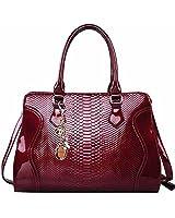FOXER Women Top Handle Tote Purse Patent Leather Satchel Handbag Shoulder Bag, Red
