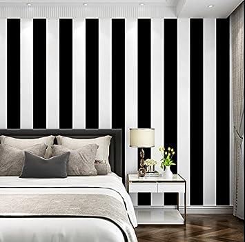 Poowef Wallpaper Papier Peint À Rayures Noir Et Blanc Simplicité Moderne  Salon Chambre À Coucher Coffee