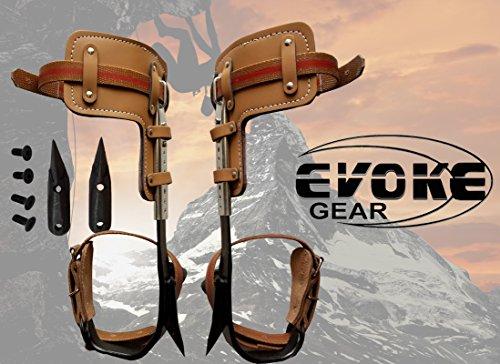 Evoke Gear Tree Climbing Spike Set Pole Climbing Spurs Climber Adjustable with Replacement Graffs