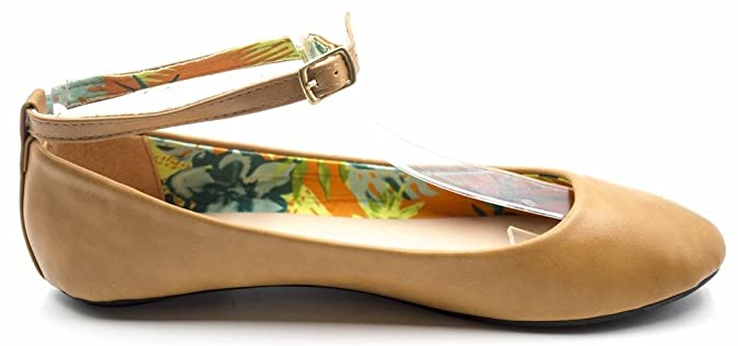Amazon.com | Charles Albert Round Toe Vegan Leather MaryJane Ankle Strap  Flats | Flats