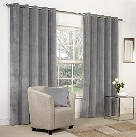 Dove Grey Velvet Ring Top Eyelet Curtains 90quot X