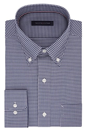 Tommy Hilfiger Men's Non Iron Regular Fit Gingham Buttondown Collar Dress Shirt, Navy, 16.5