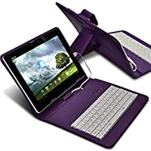 "ONX3 Kobo Arc 7 7"" (Purple) Ultra-Slim Adjustable Tablet Case QWERTY Keyboard Stand Cover for Android Tablet with Micro USB Connection"