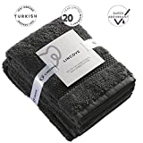 Lincove 100% Turkish Cotton Luxury Hand Towels - Hotel & Spa Luxury Hand Towels 600 GSM, Highly Absorbent & Eco Friendly - Made in Turkey (Dark Grey)