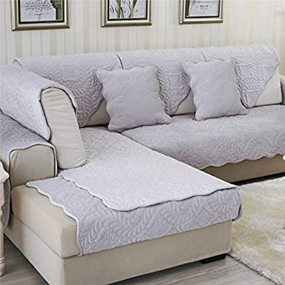 OstepDecor Soft Petris Quilted Sofa Furniture Protector Couch SlipCover for Pet Dog Children Kids - Backrest and Armrest Sold Separately - Grey 36 x ...