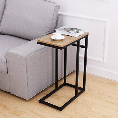 Wood Table Steel Finish (OULII Sofa Side End Table C Table Small, Snack Table with Wood Finish and Steel Construction for Coffee, Snack, Tablet)