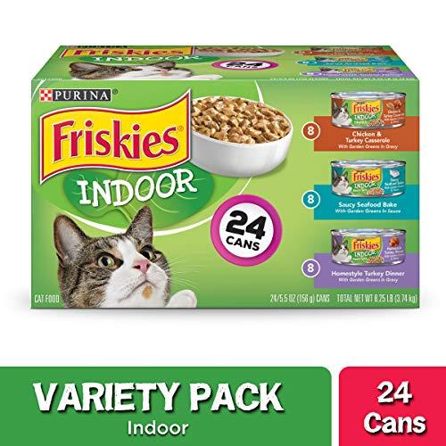 Purina Friskies Indoor Wet Cat Food Variety Pack, Indoor - (24) 5.5 oz. Cans (Gatos Los Gardens)